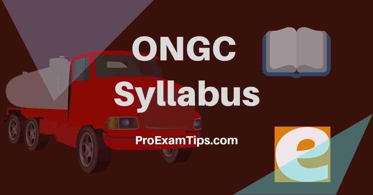 ONGC Recruitment Syllabus