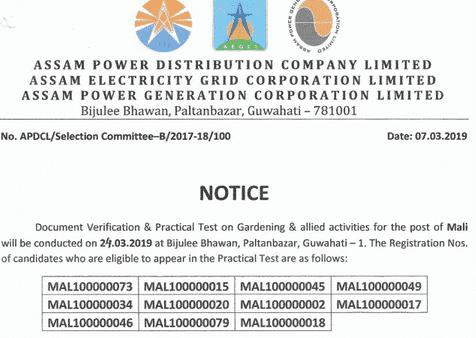 APDCL Mali Admit Card