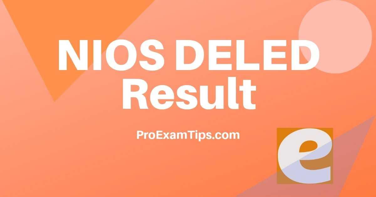 Download NIOS DELED Result 2019 1