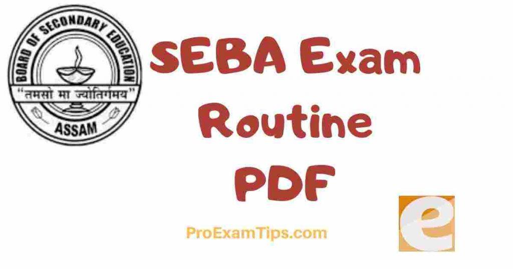 SEBA Exam Routine PDF