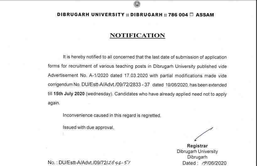 Dibrugarh University Faculty Recruitment