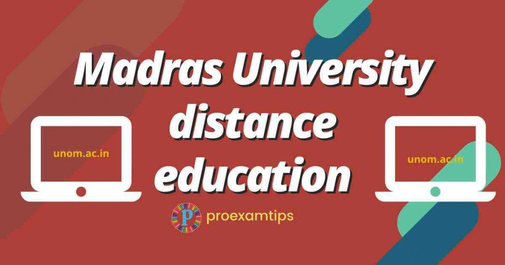 Madras University distance education