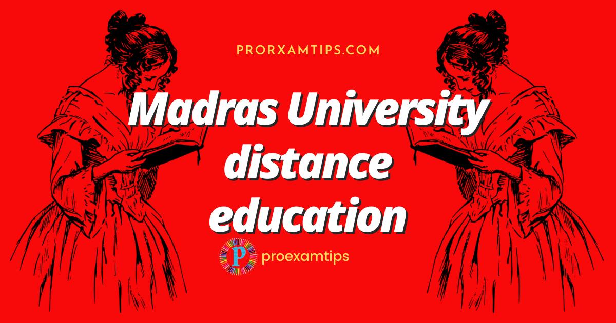 Madras University distance education courses