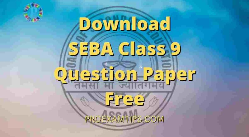 Download SEBA Class 9 Question Paper Free