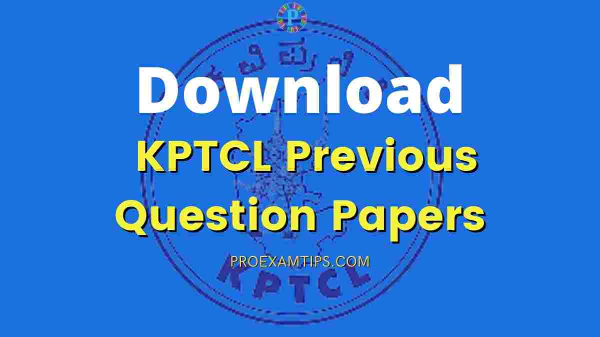 KPTCL Previous Question Papers