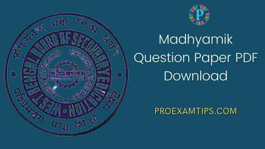 wbbse Madhyamik Question Paper PDF